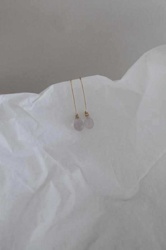 WIRE EARRINGS GOLD AND ROSE QUARTZ