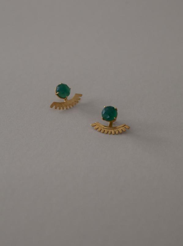 SIENNA EARRINGS GOLD AND GREEN ONYX