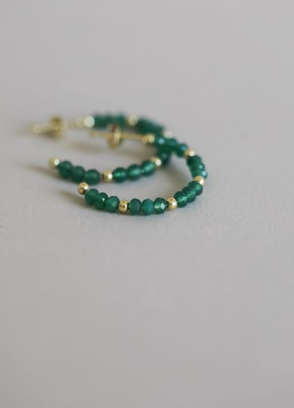 BEADED HOOPS GREEN ONYX & GOLD