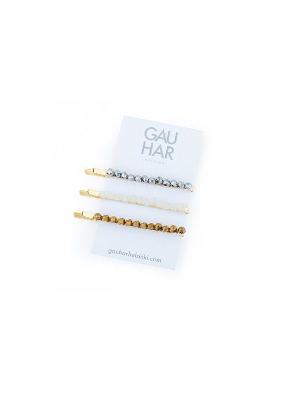 BOBBY PIN SET METALLIC BEADED