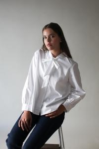 BOW BLOUSE WHITE L