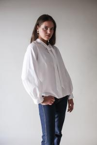 BOW BLOUSE WHITE S