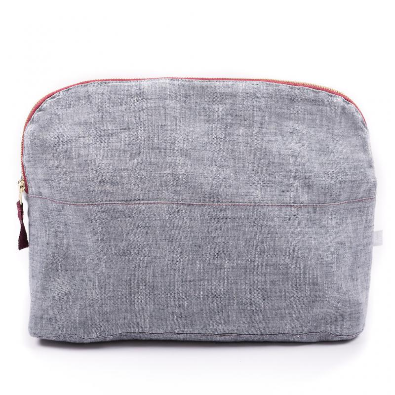 COSMETIC BAG LINEN BLUE LARGE