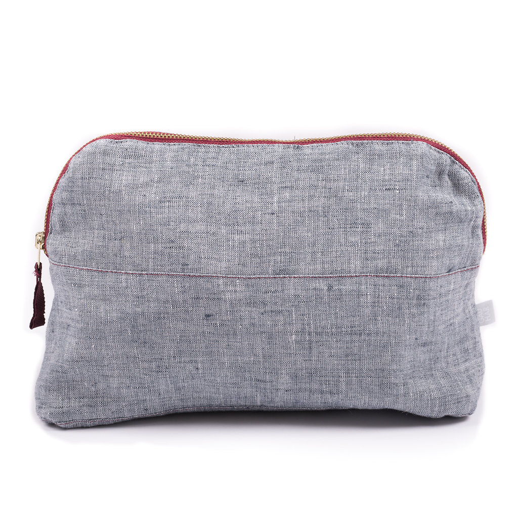 COSMETIC BAG LINEN BLUE MEDIUM