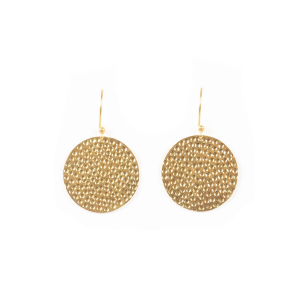 DISK EARRINGS HAMMERED GOLD