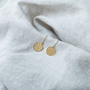 DISK EARRINGS HAMMERED GOLD SMALL