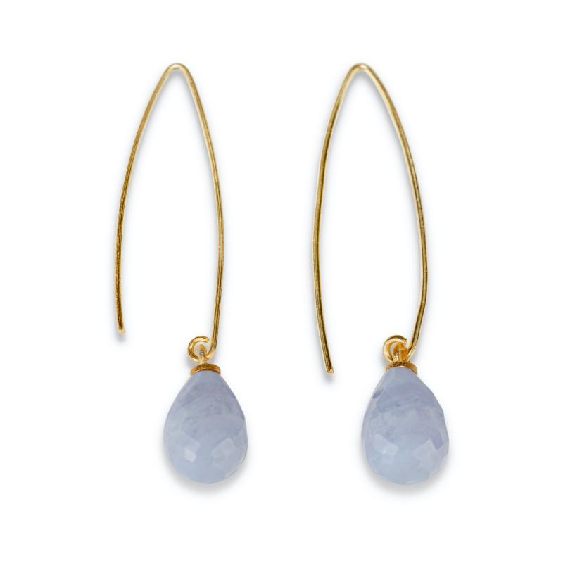WIRE EARRINGS GOLD AND BLUE LACE AGATE