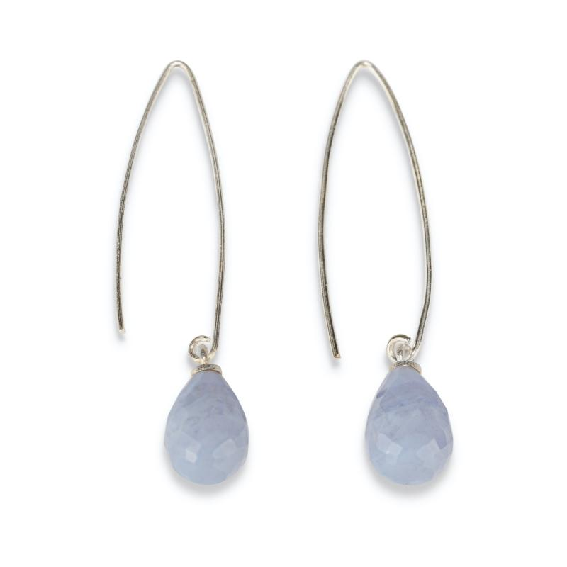 WIRE EARRINGS SILVER AND BLUE LACE AGATE