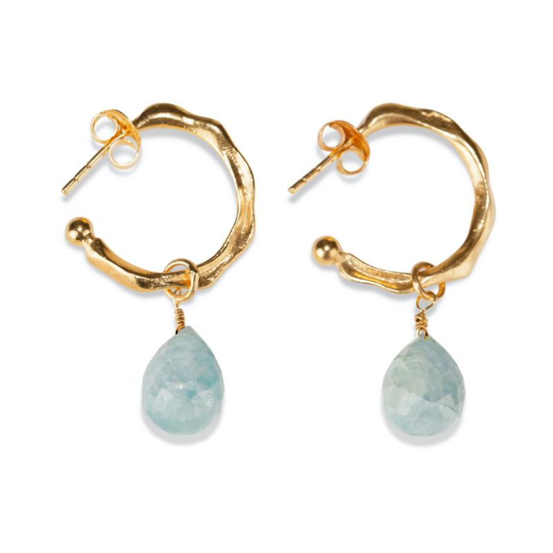 TWISTED HOOP EARRINGS GOLD AND AQUAMARINE