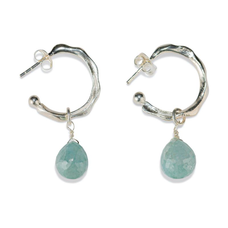 TWISTED HOOP EARRINGS SILVER AND AQUAMARINE