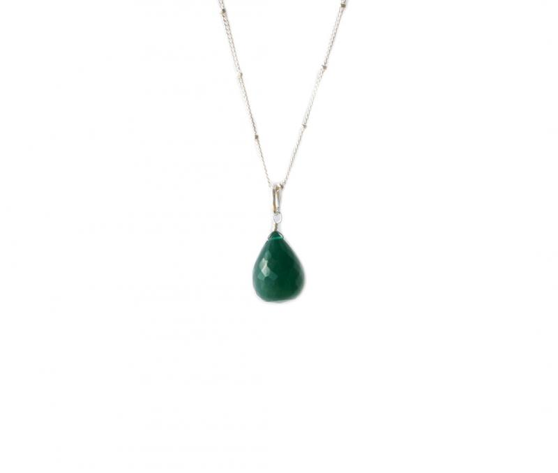 BRIOLETTE PENDANT SILVER AND GREEN ONYX