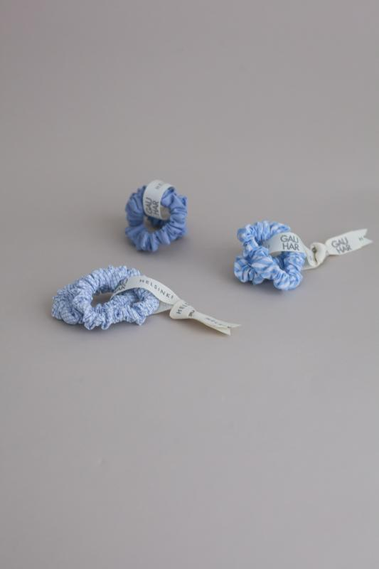 SCRUNCHIE SET HELSINKI ATELIER CHECK LIGHT BLUE