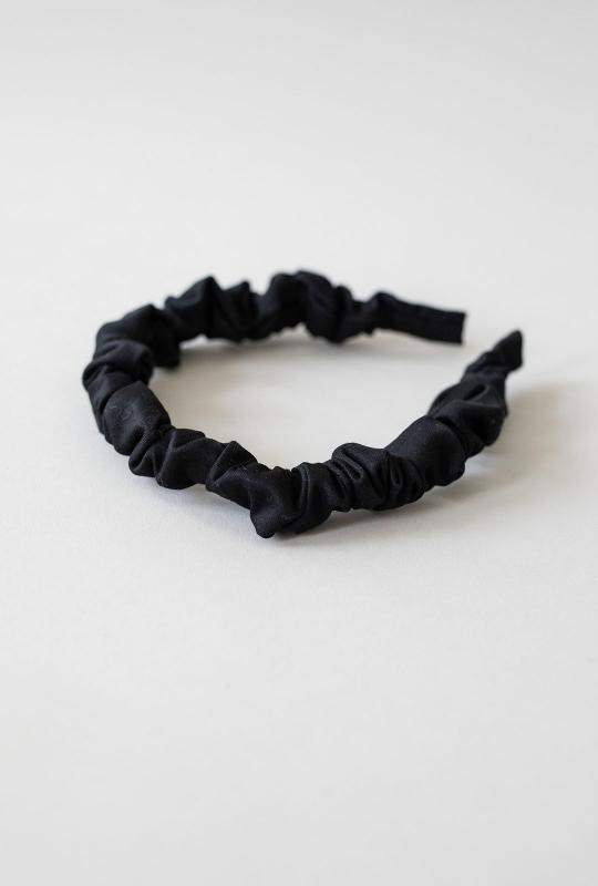 HEADBAND HELSINKI ATELIER RUFFLED SLIM BLACK