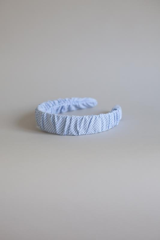 HEADBAND HELSINKI ATELIER RUFFLED CHECK LIGHT BLUE