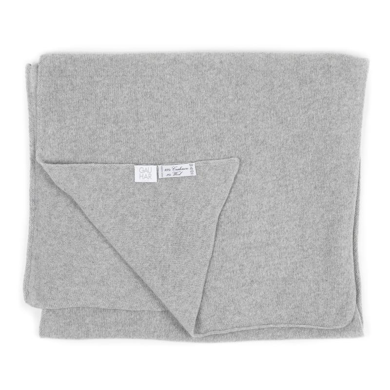 KNITTED CASHMERE SCARF GREY