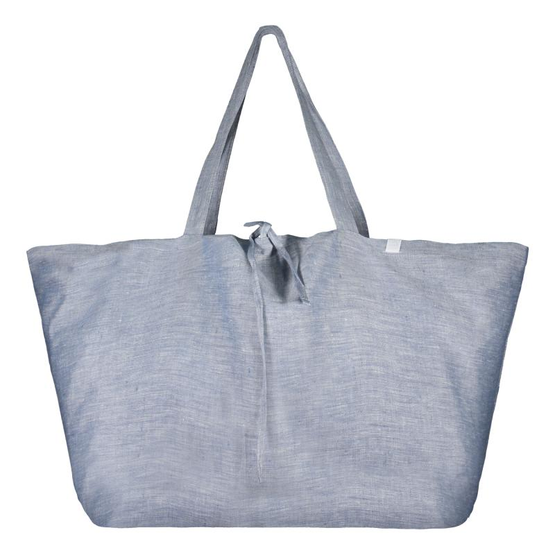 LARGE LINEN BAG BLUE