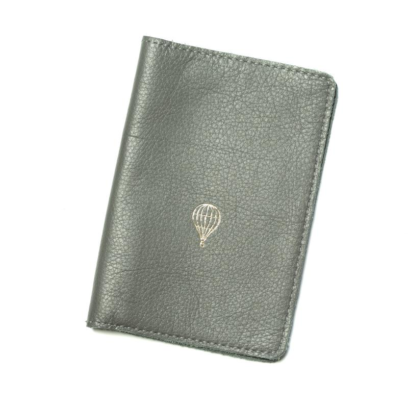 LEATHER PASSPORT COVER GRAPHITE