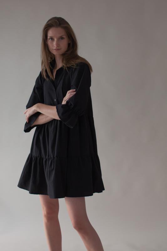 RUFFLED DRESS BLACK XL/XXL