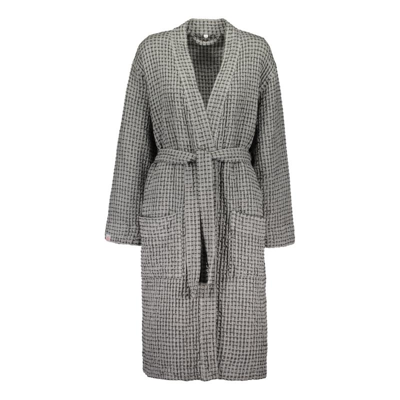 WAFFLE BATHROBE DARK GREY L/XL