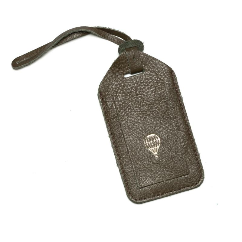 LEATHER NAME TAG OLIVE
