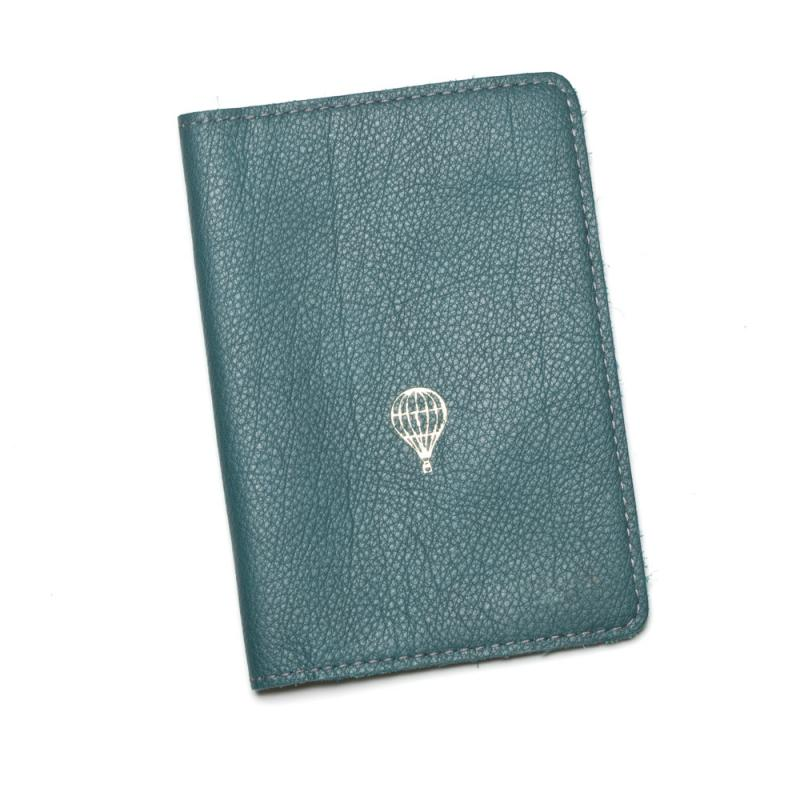 LEATHER PASSPORT COVER PETROL