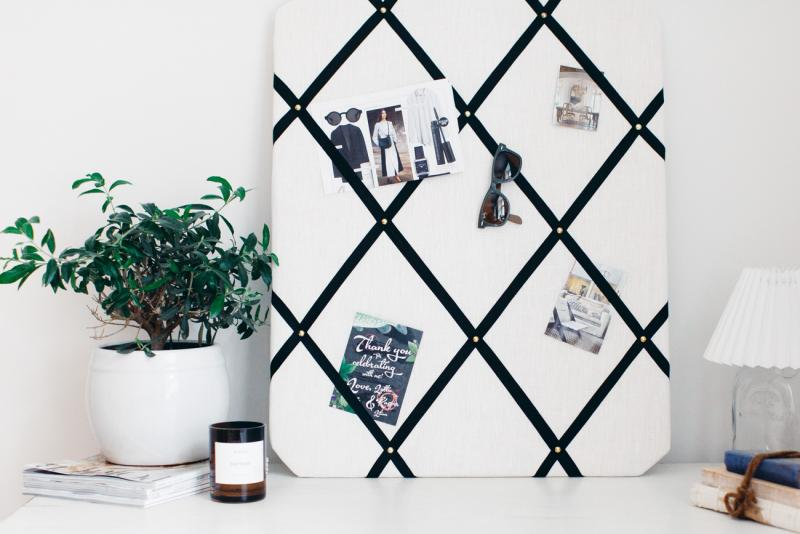 LINEN NOTICE BOARD WITH BLACK RIBBON
