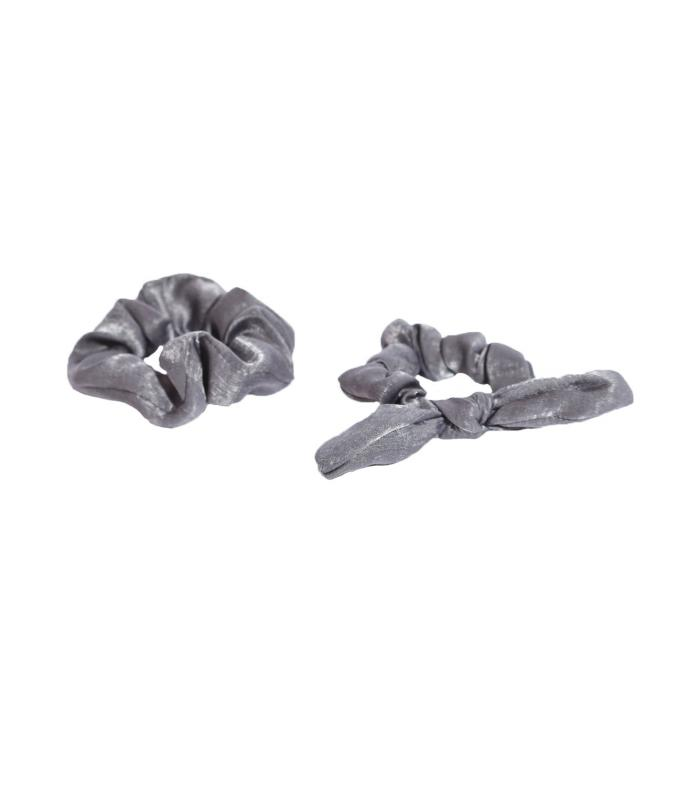 SCRUNCHIE SET SILK LAVA GREY