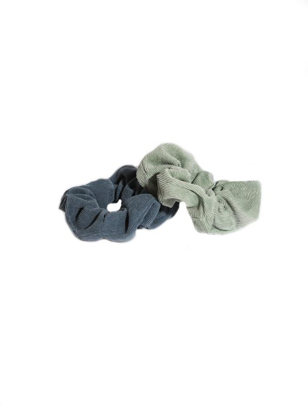 SCRUNCHIE SET CORDUROY GREEN & BLUE