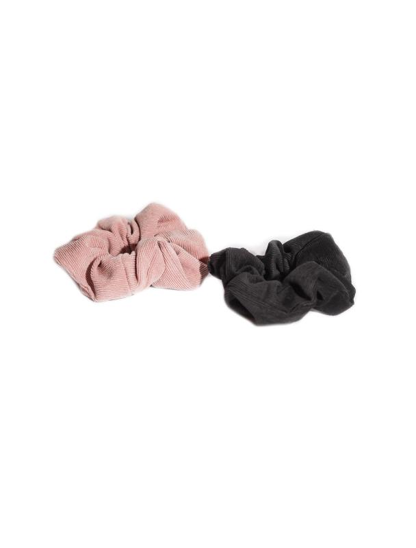 SCRUNCHIE SET CORDUROY BLACK & BLUSH