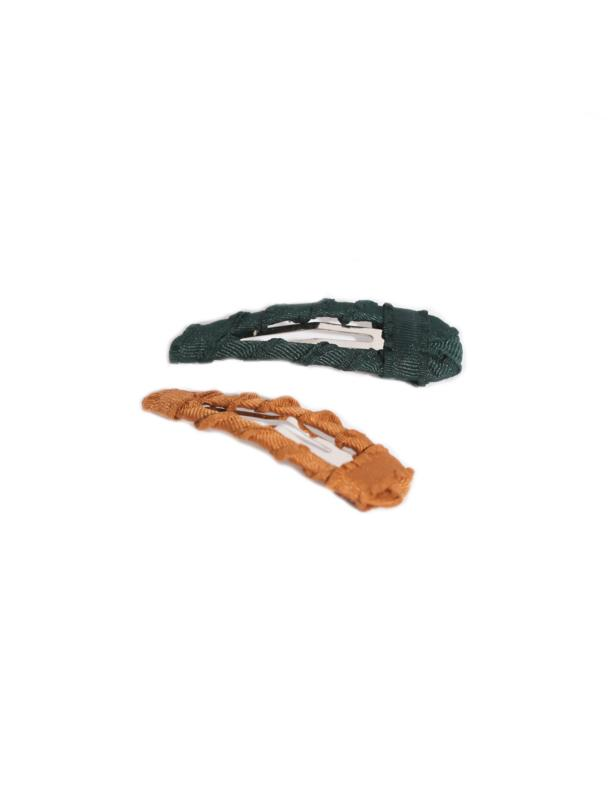 TWISTED GROSGRAIN CLIP SET MOSS & CAMEL