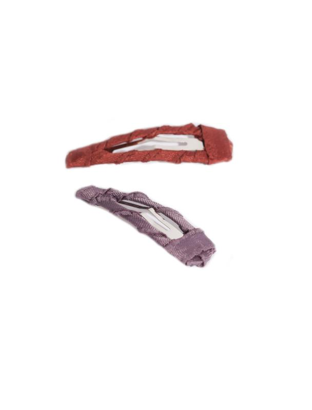 TWISTED GROSGRAIN CLIP SET RUST & LILAC