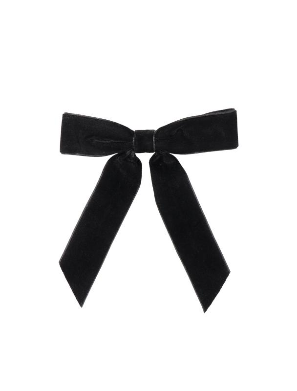 VELVET RIBBON BARRETTE BLACK