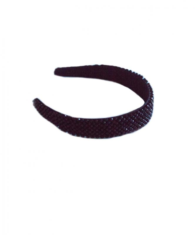 HEADBAND FLAT EMBELLISHED BLACK