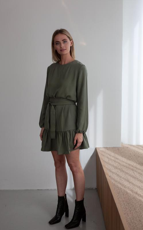 FRILL DRESS SAGE GREEN S