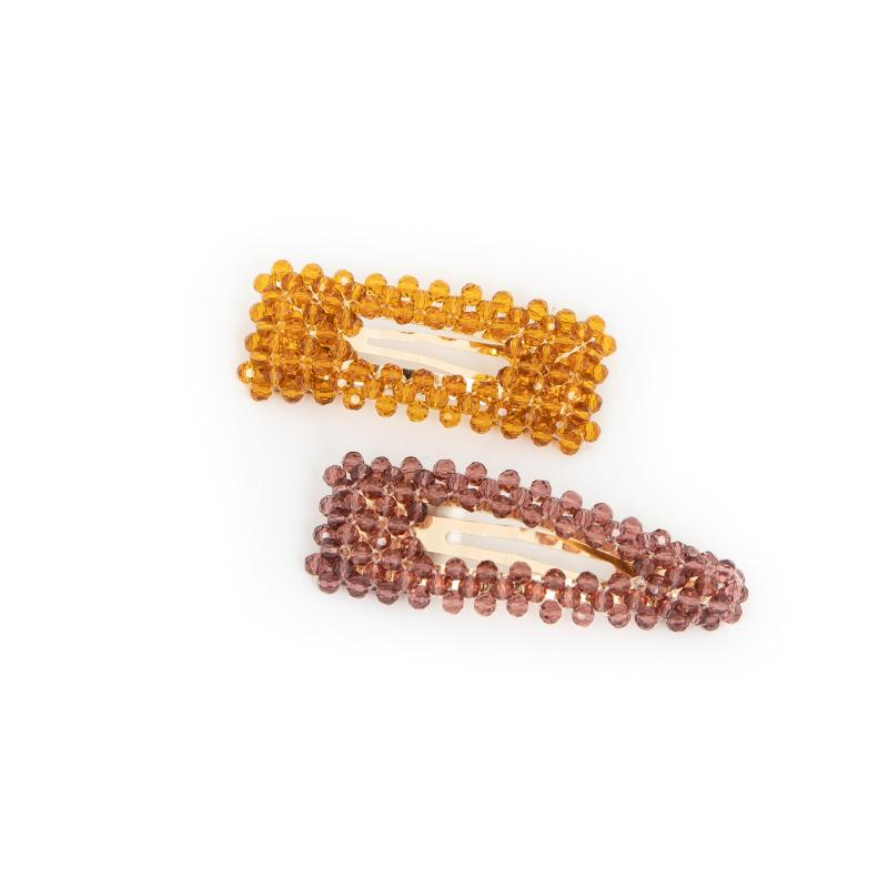 EMBELLISHED HAIR CLIPS HONEY & PLUM