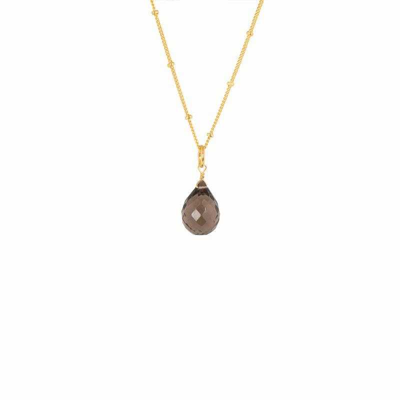 BRIOLETTE PENDANT GOLD AND SMOKY QUARTZ
