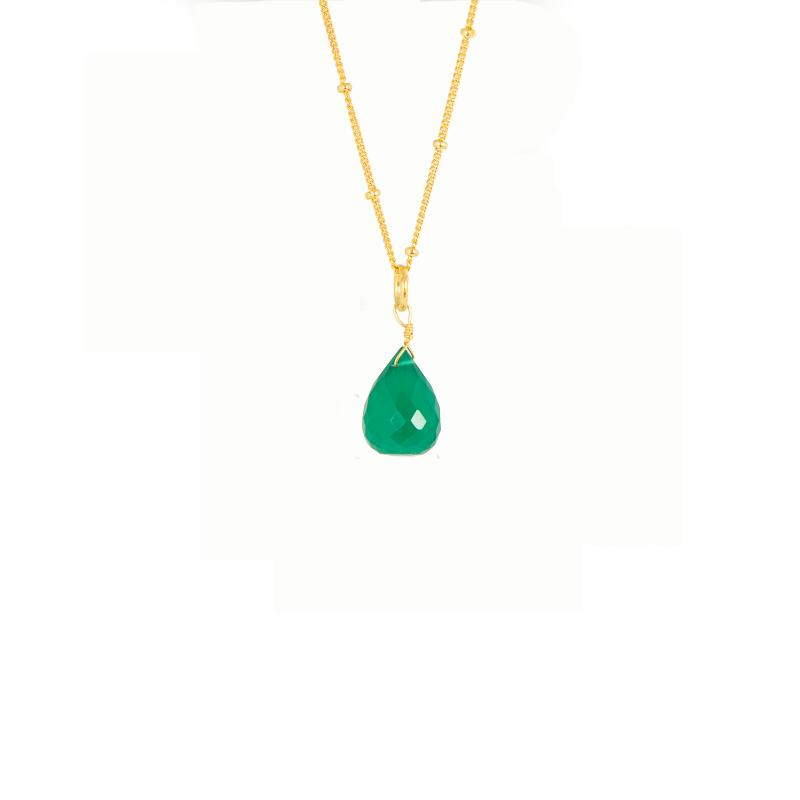 BRIOLETTE PENDANT GOLD AND GREEN ONYX