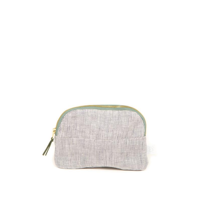 COSMETIC BAG LINEN STRIPED SMALL