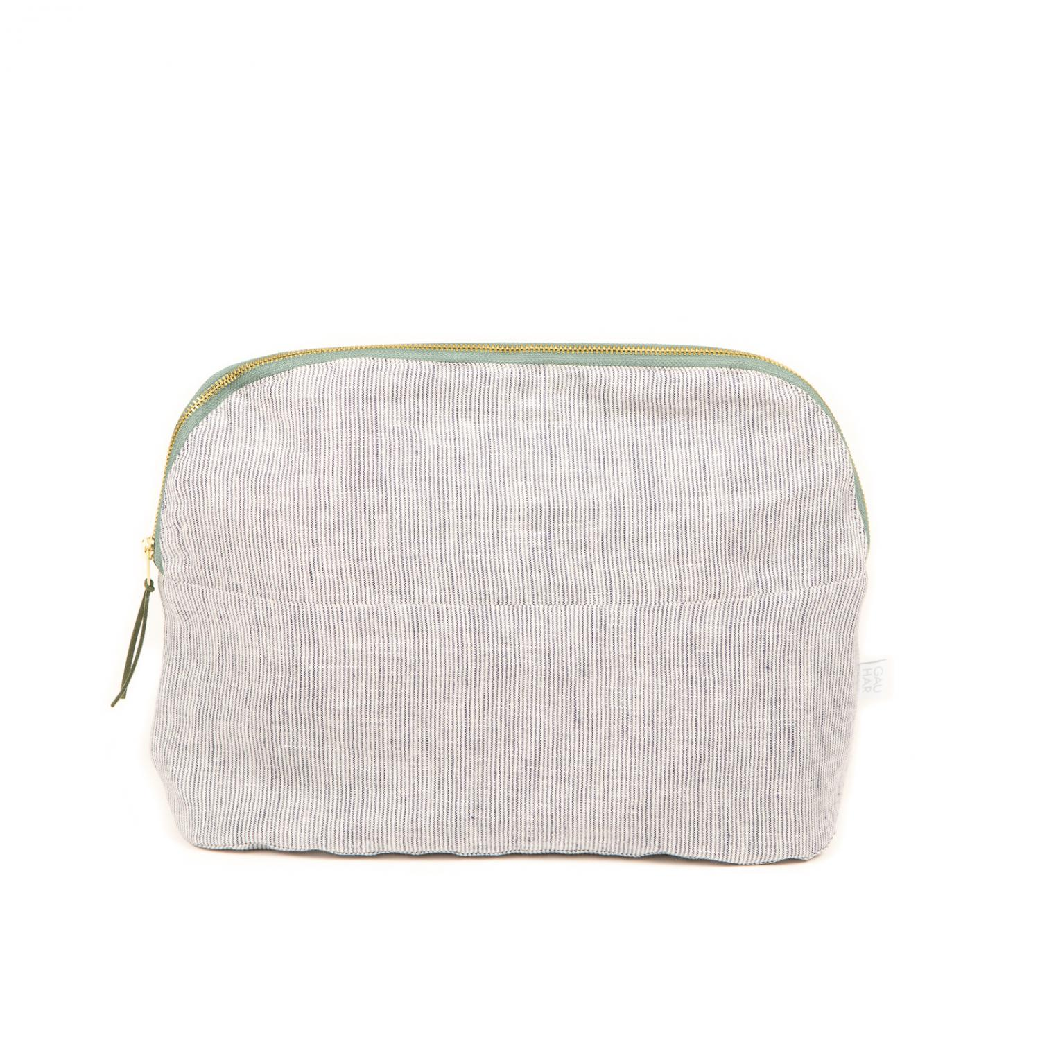 COSMETIC BAG LINEN STRIPED LARGE