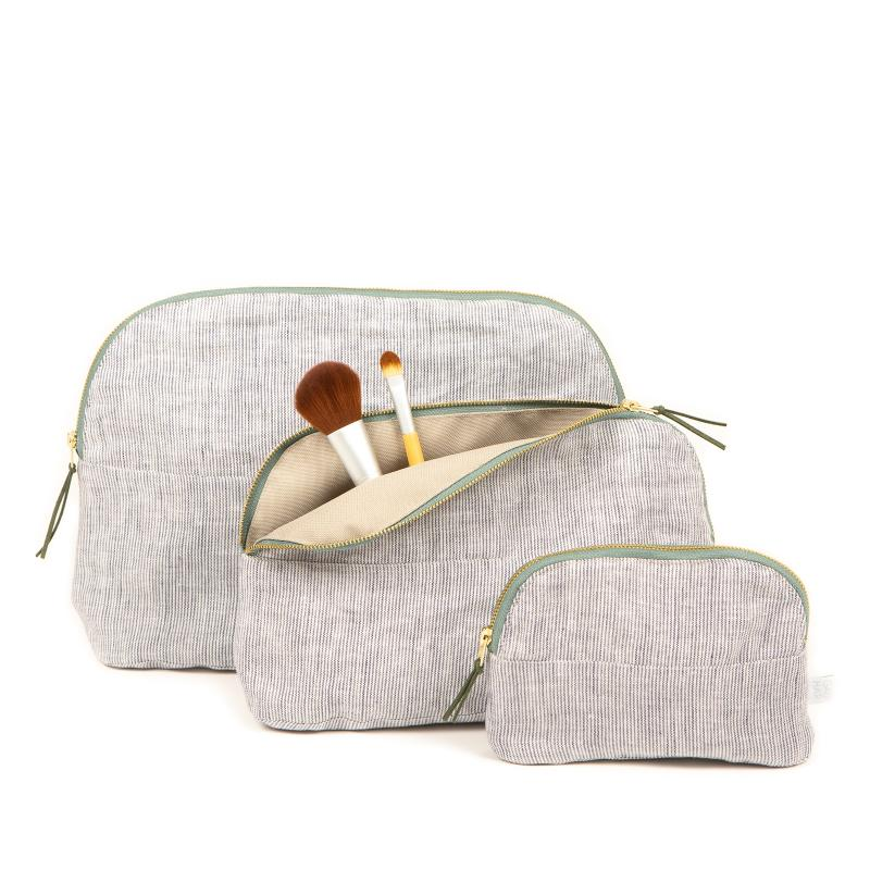 COSMETIC BAG LINEN STRIPED MEDIUM