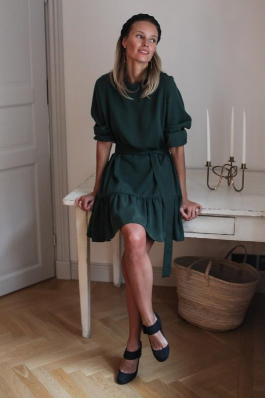 FRILL DRESS GREEN L