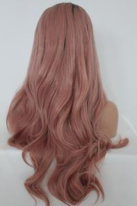 Light peach wavy Lace front synthetic Wig
