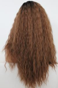 Brown spiral curly Lace front synthetic Wig