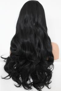 Black bangs wavy Lace front synthetic Wig