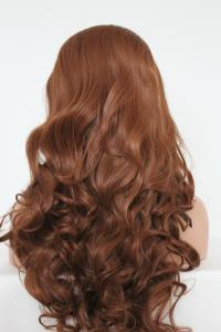 Brownish auburn wavy Lace front synthetic Wig