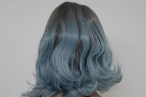 Light blue ombre wavy Lace front synthetic Wig