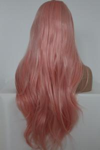 Light whitish pink straight Lace front synthetic Wig