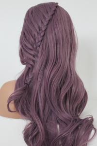 Lavender  side braided Lace front synthetic Wig
