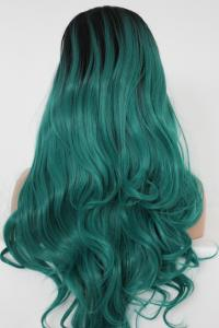 Dark green/black Lace front synthetic Wig