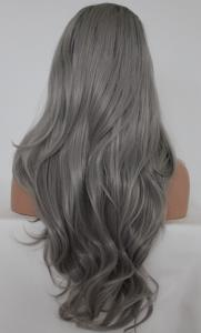Light grey with dark roots Lace front synthetic Wig